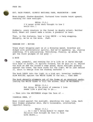 twilight movie script collect and read the real and entire