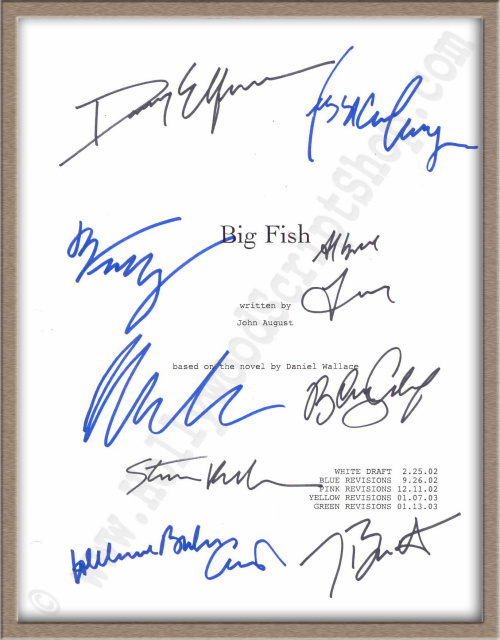 signed scripts autographed scripts for sale at the ForBig Fish Script