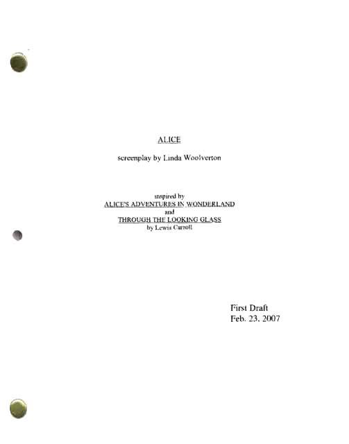 alice in wonderland pdf script