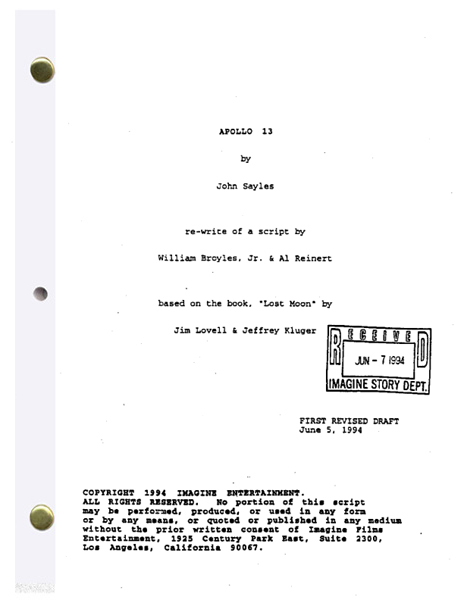 apollo 13 script collect and read the real and entire